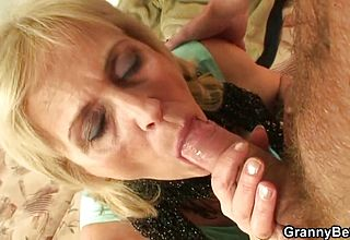 Skinny older Prostitute Gulps His steamy chisel