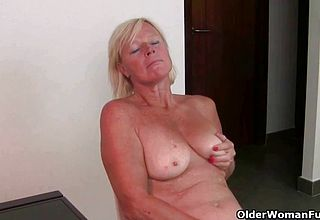 Insatiable Mature Grandmother Likes rubing her Thick pleasure button After work
