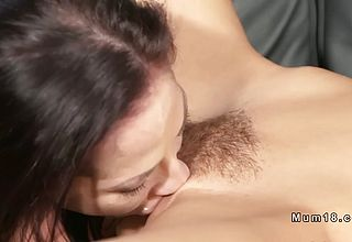 Fit Dark haired mummy Lesbians finger kittling
