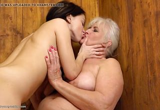Lesbian Bootie And cunny Gobbling from Unshaved Grandmother