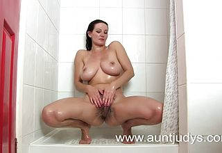 All innate Milf with Super jaw dropping thick Mammories Naked in the Bathroom