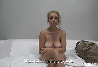 Glamorous ash blonde cougar Gets ultra mischievous on Her 1 st audition