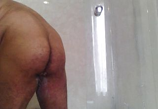Naked Elder Man wanks His ginormous stud meat While Showering