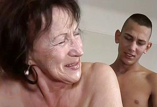 Super insatiable Dirty granny Licks ass and Gets pulverized by a youthful stud