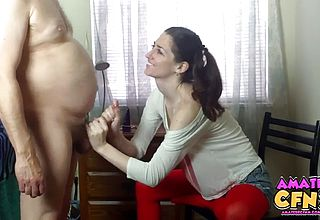 Well lubed Up handjob for an old Pervert By chocolate colored haired Teenage