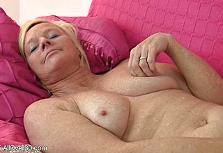Insane Light haired gilf Frigs Her Clean tidy clean shaven elder Vag